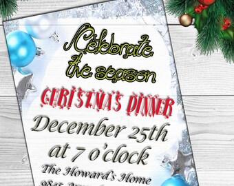 Christmas Invitation Printable,Xmas invitations, Xmas cards