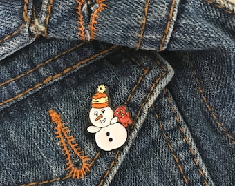 Beary Snowman Christmas Enamel Pin