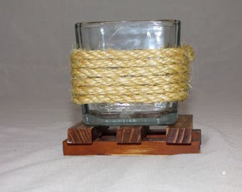 Cute Single Candle Holder with Stand, Handmade Glass and Rope Candle Holder with wooden stand, Small Single Candle Holder for Gift,