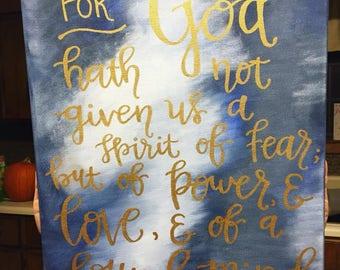 2 Timothy 1:7 Canvas Wall Decor