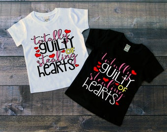 Children's Valentine's Day Tee Shirt, Totally Guilty of Stealing Hearts, Black or White Tee, Infants, Toddler, Youth, Girls Valentine Shirt