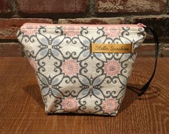 vintage floral pink and gray flannel makeup bag, cosmetics pouch, toiletry bag, handmade