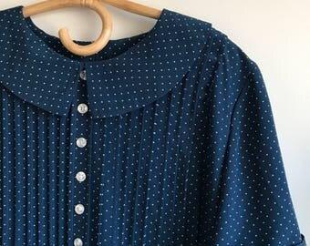 Navy Polka Dot Plus Size Dress Peter Pan Collar Size 16