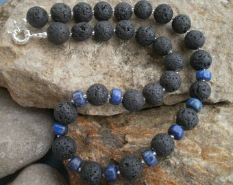 Lava chain 14 mm with lapis #505