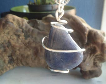 Blue Adventurine Beautifully Wrapped in Silver Colored Wire. Random Pick.