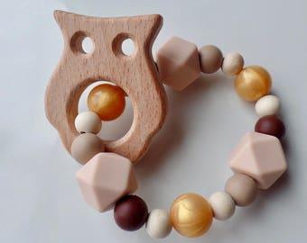 Owl Baby Teething Ring, Teething Ring, Baby Teether, Modern Teether, Baby Shower