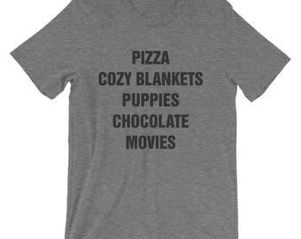CUSTOMIZABLE Favorite Things T-Shirt! Women, Girly, Unisex, Fun, Cute, Pizza, Puppies, Cozy Blankets, Chocolate, Movies, Graphic Tee, TShirt