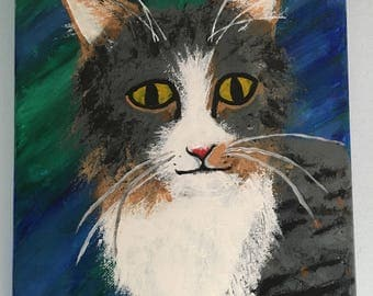 Cat Acrylic Painting on 9x12 stretched canvas