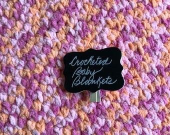 Crocheted Baby Blanket, 37 x 55, Bernat Yarn, 100% Polyester.