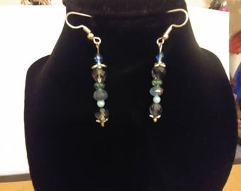 Blue and Lavender Czech Glass Earrings