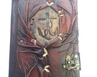 Real Leather %100 Handmade Notebook Journal Diary with Anchor Figure