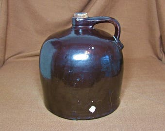 "Vintage Brown Beehive 9.5"" Stoneware Whiskey Moonshine Jug with Intact Handle & Cork, Albany Slip Glaze"