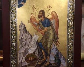 Handmade Byzantine Icon Of Saint John The Baptist