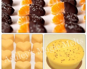 3 chocolate orange sweet wax melts, bakery melts, food wax melts, cheap melts, highly fragranced wax melts, wax melt tarts