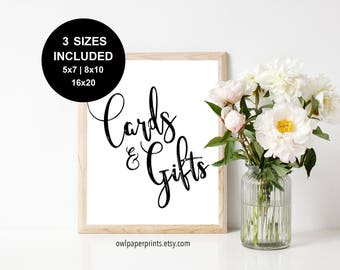 Cards & Gifts - Printable PDF, sign, signs, Wedding, Baby Shower, Bridal, Engagement, birthday, presents, envelopes