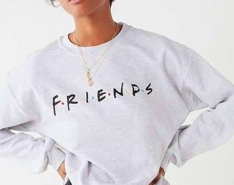 friends logo light gray crewneck sweatshirt