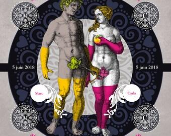 ADAM EVE SOFT, Digital art, Digital Art, icon, print, Illustration, frame to offer, frame, wedding, gift, family, Souvenir