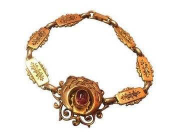 Vintage Karu Purple Stone Filagree Bracelet