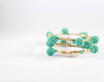 Gold and Turquoise Wire Wrapped Bracelet Set