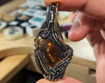 Fire agate wire wrap