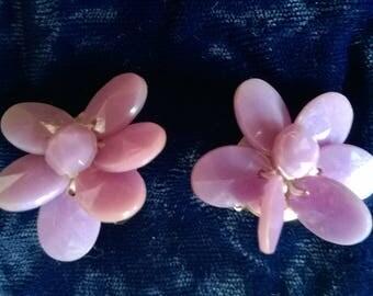1960s flower earrings, iridescent mauve plastic  clip-on, vintage costume jewellery