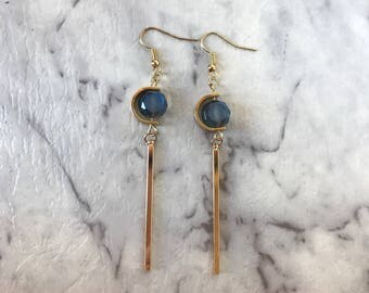 Bar crystal earrings, bar earrings, gold earring