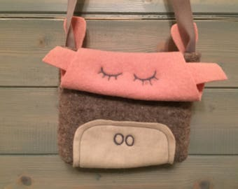 Cute animal handbag wool and felt