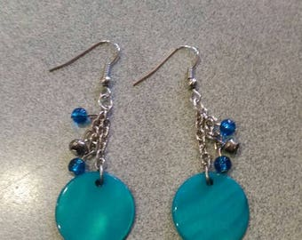 Teal, Blue, and Silver Dangle Earrings