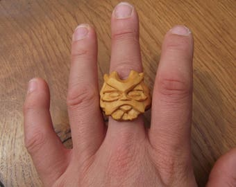 Boxwood Green Man Ring