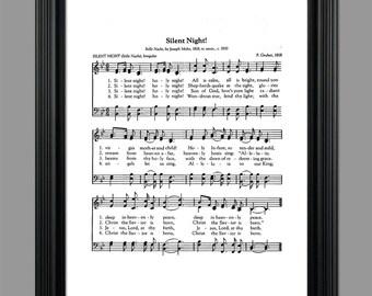 Silent Night Christmas Song Lyrics - Christmas Sheet - Sheet Music- Home Decor - Holiday Gift - Instant Download #HYMN-032