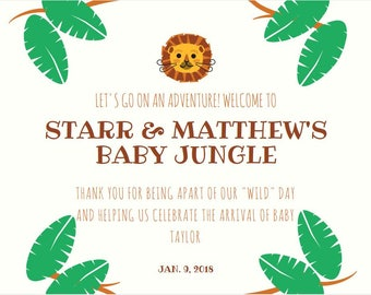 Jungle/Rain Forest Welcome Card/Thank You Cards/Baby Shower/Gender Reveal