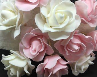 Handmade Edible Roses Pink or White