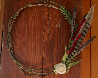 Barbed Wire Wildfower Wreath