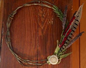 Barbed Wire Wildfower Wreath