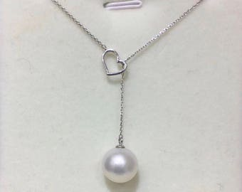 11-12mm Genuine Edison Pearl with 925 Sterling Silver Heart Chain Necklace,Single Drop Baroque Pearl Wedding Necklace, Silver Heart Necklace