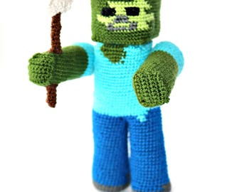 Crocheted Minecraft Zombie, Amigurumi