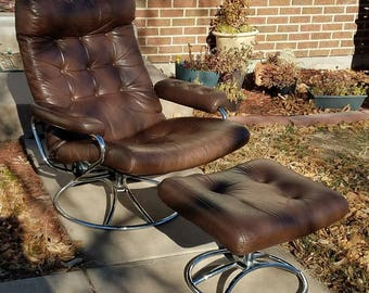 Ekornes Stressless Leather & Chrome Recliner w/ Ottoman local pickup only