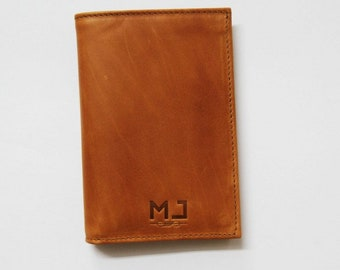 Mj Brown leather wallet Handmade in Morocco, Portfolio Leather Goods