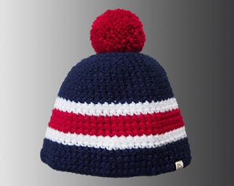 Handmade Colour Block Crochet Warm Winter Bobble Hat Stripy Red Pompom Hat