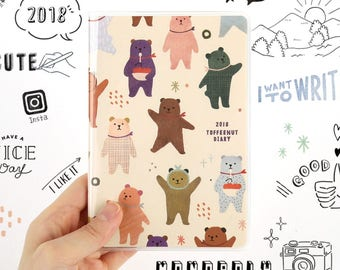 2018 TOFFEENUT DIARY / diary / note / line note / scheduler / calendar / 2018 diary / planner / illustration