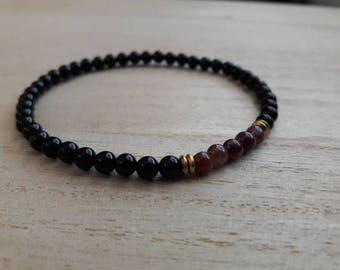 Tourmaline with Black Onyx Bracelet, Indie Jewlery, Minimalist