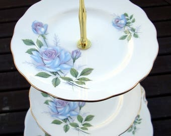 Blue rose cake stand - vintage bone china - 2 or 3 tier - high tea- hatter tea party- English Royal Standard - Fascination design pattern