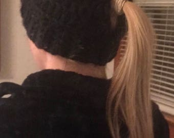 Low Ponytail Beanie, ponytail hat, messy bun beanie, messy bun hat, black
