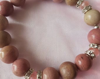 Rhodochrosite bracelet with Pink Tourmaline!!!Size Large.