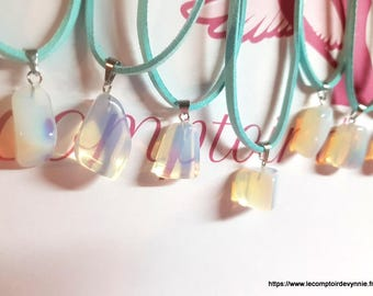 Rolled Opal stone necklace