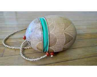 Hand Carved Coconut Purse/Round Handbag