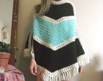 1970's blue and brown knit poncho • Vintage • 70's • Boho • Hippie • Retro • Knit • Women's Vintage • Sweater • Fringe • Cute •