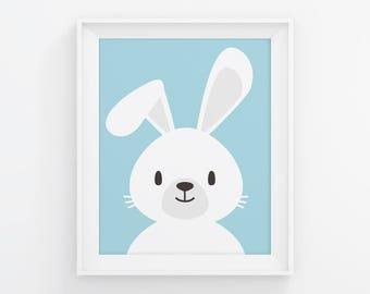 PRINTABLE Bunny Nursery Art. Blue Baby Boy Room Wall Decor. Cute Kids Poster. Digital Print Instant Download 8x10, 11x14, 16x20, A4 A3