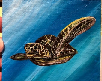 Magnet mini painting sea turtle signed