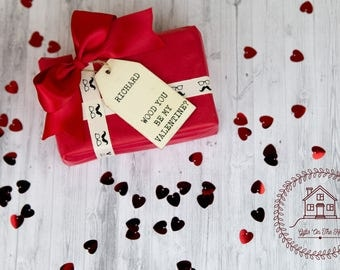 Personalised valentines gift tag, Personalized valentine gift tag for him, wooden gift tag, cute gift tag, rustic gift tag, valentines day